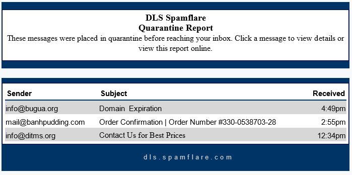 DLS Spamflare Quarantine Email