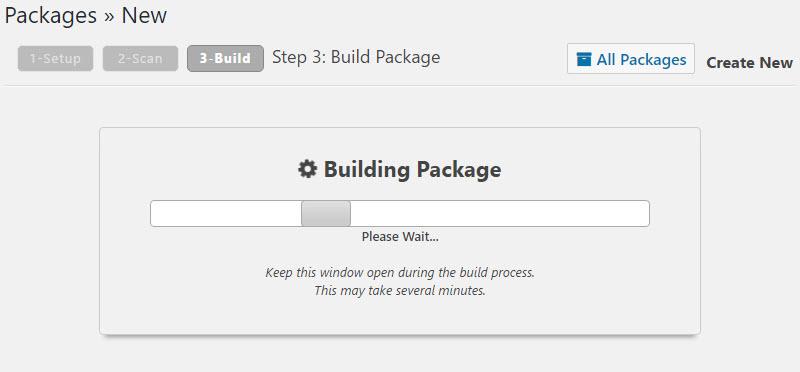WordPress Site Migration, Building Package