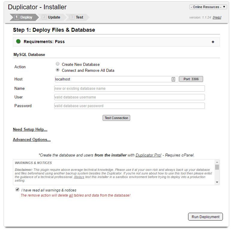 WordPress Site Migration, Deploying Package